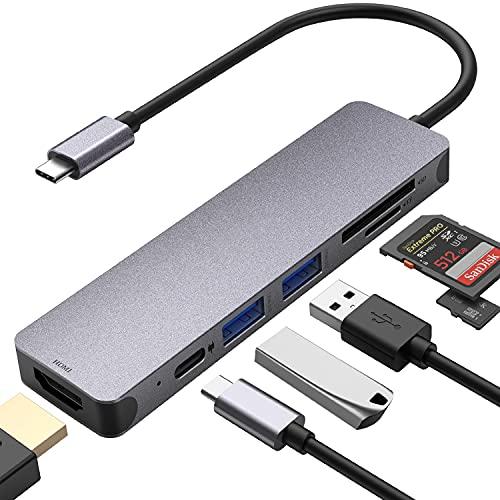 Hub USB C 7 en 1 tipo C con alimentación de 100 W PD, 4 K UHD USB C a HDMI, 2 puertos USB 3.0, lector de tarjetas SD/microSD/TF, adaptador USB C compatible con MacBook, iPad Pro, portátiles