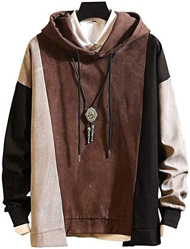 Men's Sweatshirt Hoodies Top Blouse Tracksuits Long Sleeve Autumn Winter,Marron-M