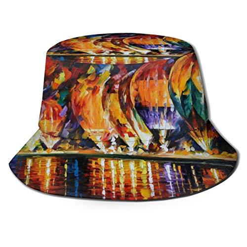 ENZOOIHUI Sombrero de Cubo de Globo de Aire Caliente Sombrero de Sol Unisex Sombrero de Viaje de Pescador Impreso Sombrero de Viaje al Aire Libre de Moda