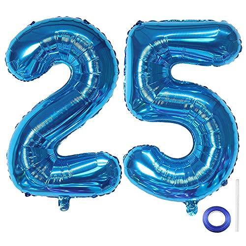 Liitata Globos con número 25, color azul, número 25, para hombres y...