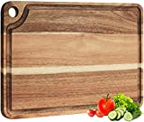 AZRHOM Large Acacia Wood Cutting Board for Kitchen 18x12 with Juice Groove & Hanging Hole for Meat Vegetables Cheese Chopping Board Butcher Block