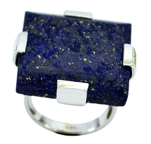 Gemsonclick Echt Lapislazuli Fabulous Ring Fett Sterling Silber REchteck Bar Style Handmade Größe N