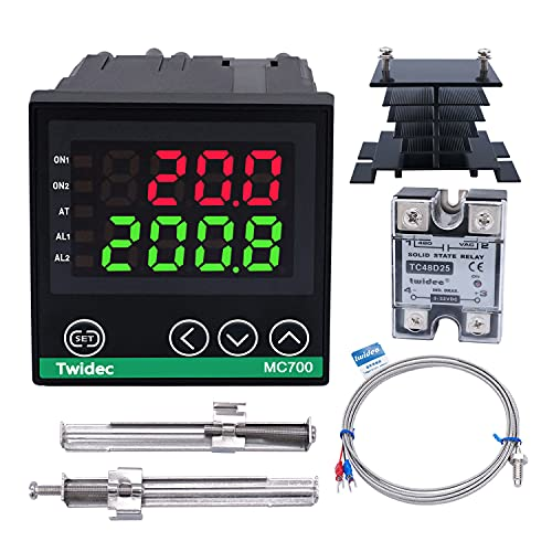 Twidec/Digital Display PID Temperature Controllers Thermostat ℉ ℃ Regulator AC 85V - 265V 72x72mm + K Sensor Thermocouple + Black Heat Sink and Solid State Relay SSR 25DA MC700-B11-SSR25