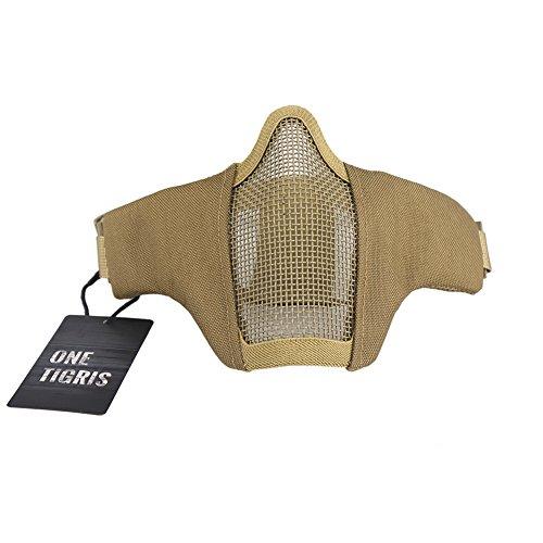 OneTigris Faltbare halbe Gesichtsschutz Maske Mesh Maske für Softair Painball CS (Khaki) |MEHRWEG Verpackung