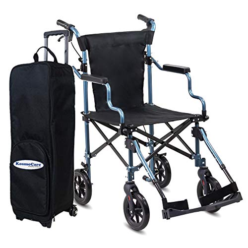 KosmoCare Tranz-Air Ultra Light Aluminium Transport Wheelchair with Handbrakes and Trolley Bag