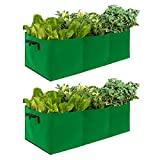 ANPHSIN 2 Pcs Large Fabric Raised Planting Beds Garden Grow Bags with 3 Compartments- Potato Tomato Planter Pots for Outdoor Vegetables Plant Flowers