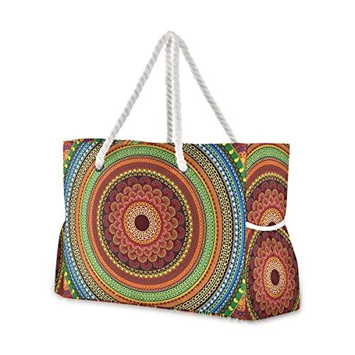 Bolsas de playa grandes Totes 92 bolsas de lona para hombro Mandala indio Hippie resistente al agua bolsas para gimnasio viajes diario