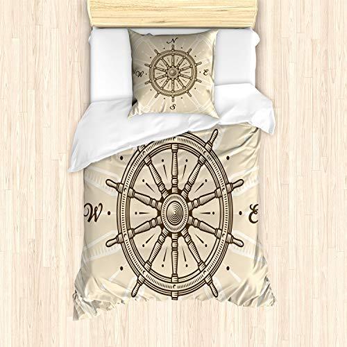 ABAKUHAUS Timone Set Copripiumino, Direzione della Rotella di Viaggio, Decorativo, 2 Pezzi con 1 Federa Cuscino, 135 x 200 cm, Beige Marrone