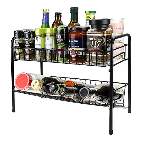 Spice Racks Organizer for Counter top,2 Tier Kitchen Counter Seasoning Storage Shelf with Shelf Liner, Bathroom Standing Rack for Cabinet, Fruit Basket Holder Black