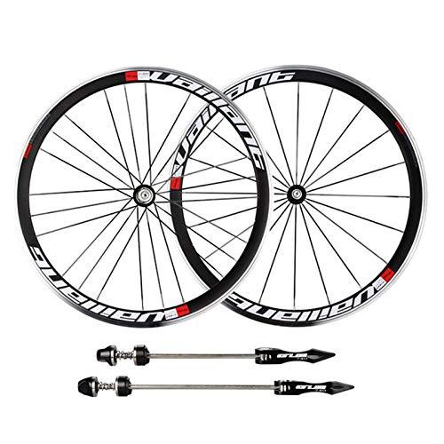 TYXTYX Ejes de liberación rápida Accesorio para Bicicleta 700C Juego de Ruedas para Bicicleta de Carretera Aleación Rueda de Bicicleta Trasera Delantera Llanta Ultraligera para Rueda Libre de 11 ve