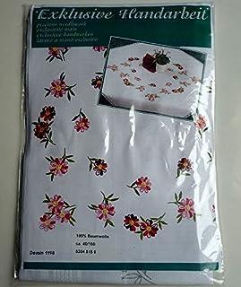 Plush Komplette Stickpackung Läufer weiß 40 x 100 cm Spannstich Streublümchen