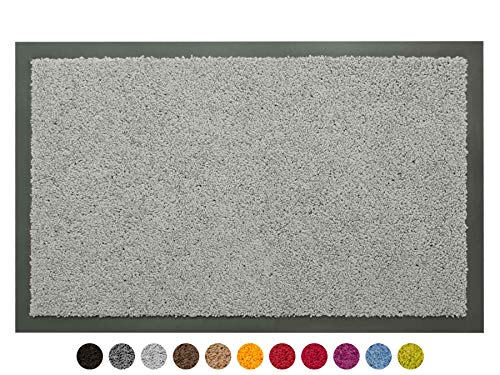 Schmutzfangmatte Sauberlauf Matte DANCER – Hellgrau, 60x80 cm, Waschbare, Rutschfeste, Pflegeleichte Fußmatte, Eingangsmatte, Küchenläufer Matte, Türmatte Haustür Innen & Außen
