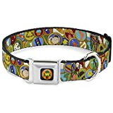 Buckle-Down Dog Collar Seatbelt Buckle Bing Bong Poses Candy Purples Multi Color Available In Adjustable Sizes For Small Medium Large Dogs