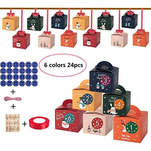 LHSDJ 24 Adventskalender Zum Befüllen Weihnachten Geschenksäckchen Mit Zahlen Aufkleber Mit 1-24 Adventszahlen AufkleberB