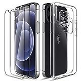 LK Cover Compatibile con iPhone 12 Mini Custodia, 2 Pezzi Pellicola Protettiva in Vetro Temperato & 2 Pezzi Pellicola Fotocamera, Morbido TPU Protezione Case-Trasparente