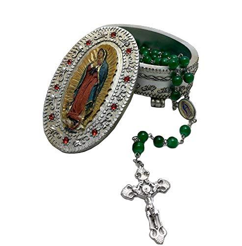 Elysian - Pala de Regalo, diseño de Nuestra Señora de Guadalupe con Nuestra Dama de Guadalupe de 8 mm, Rosario de Cuentas Verde Incluido