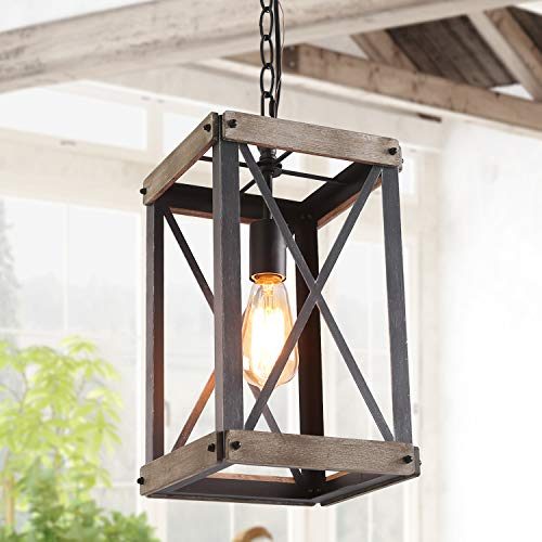 LNC Farmhouse Pendant Lighting Fixture Rustic Wood Cage...