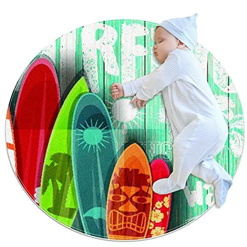 Alfombra Suave Redonda 70x70cm/27.6x27.6IN Alfombrillas Circulares Antideslizantes para el Suelo Alfombrilla para pie de Esponja Absorbente,Tabla de Surf oceánica de Surf de Verano