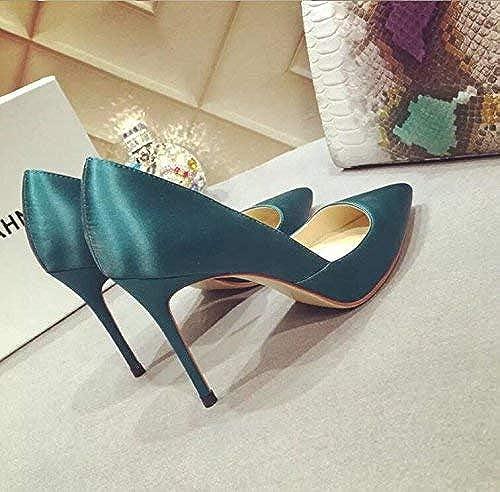 Hhoro zapatos de Corte zapatos de tacón Alto zapatos de tacón Alto zapatos de tacón Alto con la Marea zapatos de Trabajo zapatos negros de Boca Baja Sra. (Color   33, tamaño   verde 7CM)