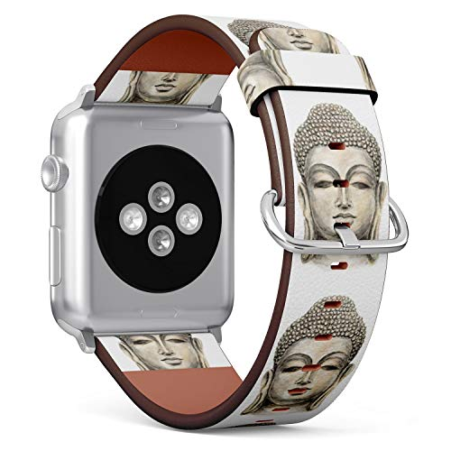 (Spiritual Peaceful Buddha) Patterned Leather Wristband Strap for Apple Watch Series 4/3/2/1 gen,Replacement for iWatch 38mm / 40mm Bands