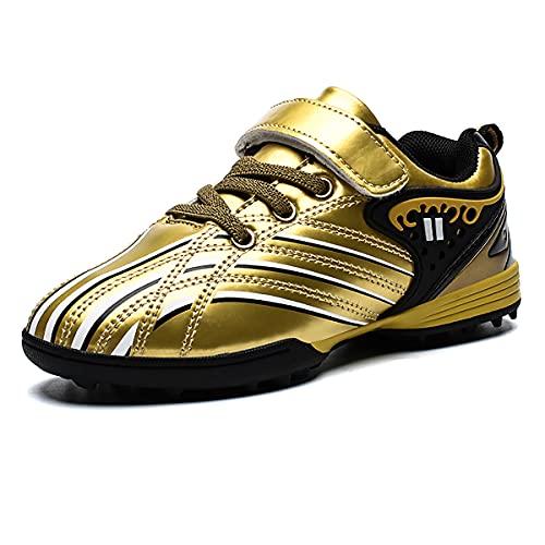 Botas de fútbol para niños Zapatos de fútbol TF Ligeros con múltiples Tacos Zapatos de Entrenamiento al Aire Libre para niños y niñas Oro 29 EU