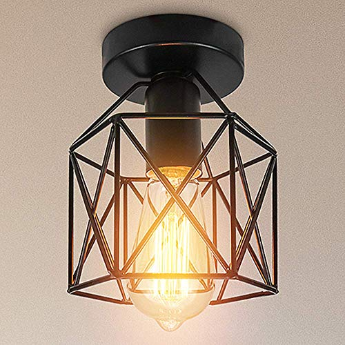 Vintage Lámpara de techo,Industrial Luz de techo Metal iluminación Rústico Montaje empotrado Lámpara de techo Lámpara de E26/E27 Para Pasillo Porche Dormitorio Sala Cafetería Bar. (1pack) (bronze)