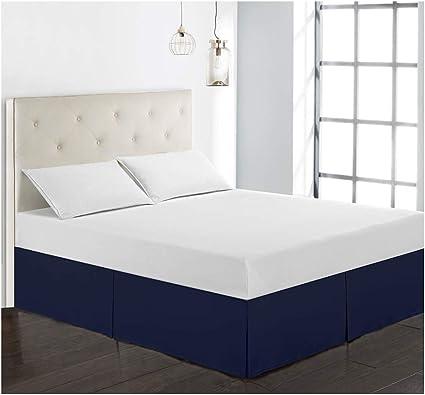 GUOCU Cubre Canapés para Somier – Falda de Cama Tejido Microfibra Poliéster - Fuerte, Suave y Duradero Azul Oscuro Single