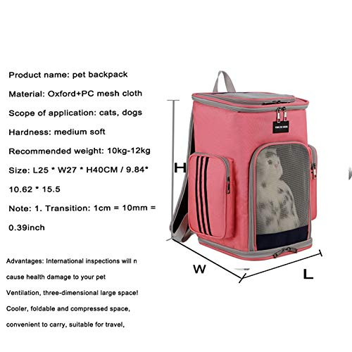 Pet travel bottle, food grade puppy travel outdoor Pet Cat Carrier Backpack Transparent Travel Carrying Space Double Shoulder Bag for Small Dogs Cats Portable Handbag Outdoor Bags Safety belts and tra