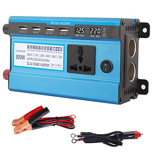 ZHCJH Professional 12V/24V DC to 220V AC 500W-4000W Power Inverter Home Fan Cooling Car Converter Compatible with Household Appliances Emergency Power Supply