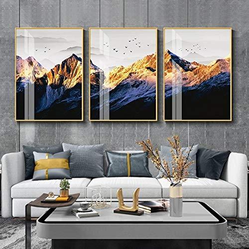 Nórdico Golden Mountain paisaje lienzo póster pájaro pared arte impresión pintura cuadros decorativos para sala de estar Moden decoración del hogar 40X60X3Pcs sin marco