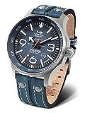Vostok Europe YN55 - Reloj de pulsera para hombre (correa de piel, con remaches cosidos, fecha automática), Azul/azul., Correas.