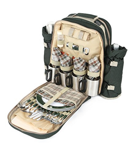 Greenfield Collection Super Deluxe - Mochila de Picnic para Cuatro...