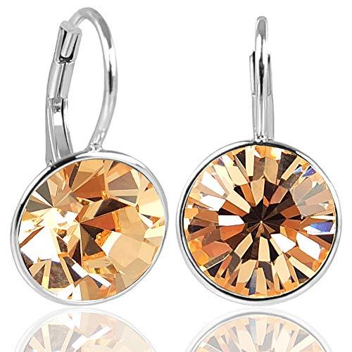 NOBEL SCHMUCK Silber-Ohrringe mit Kristallen von Swarovski® 925 Sterling Silver - Light Peach
