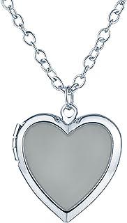Yumilok Ciondolo apribile portafoto a forma di cuore che si illumina di notte, con collana, in lega leggera per donna e ba...