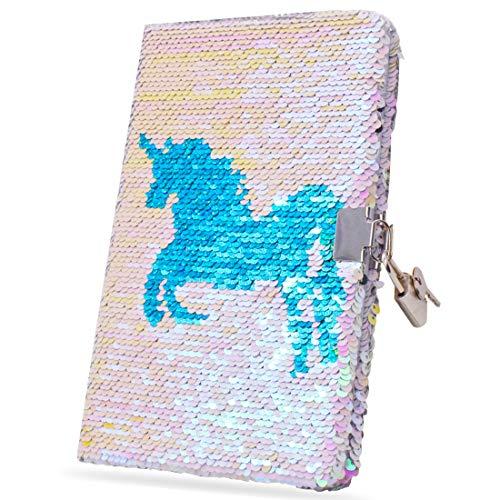Einhorn Notizbuch A5 Pailetten Notizbuch - Tagebuch Einhorn Mit Schloss - Reversibel - Tagebuch Einhorn Notizbuch Notizblock Journal Notebook Für Schule - Maße A5 20.5 x 13.5 cm - Hell-Pink, 80Seiten