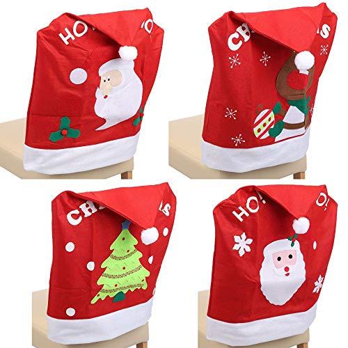 designfun 4ER-Set STUHLHUSSE STUHLÜBERZUG Weihnachten 48 x 60 cm