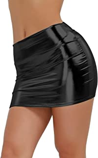 tight black leather mini dress