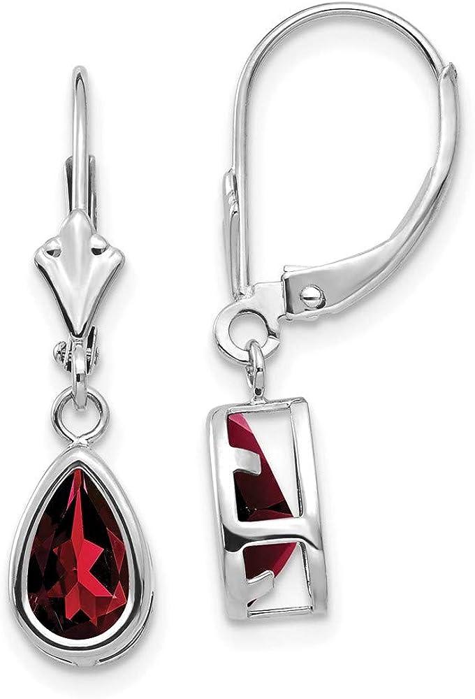 14k White Gold 8x5mm Pear Red Garnet Leverback Earrings Lever Back Birthstone January Drop Dangle Gemstone Bezel Fine Jewelry For Women Gifts For Her