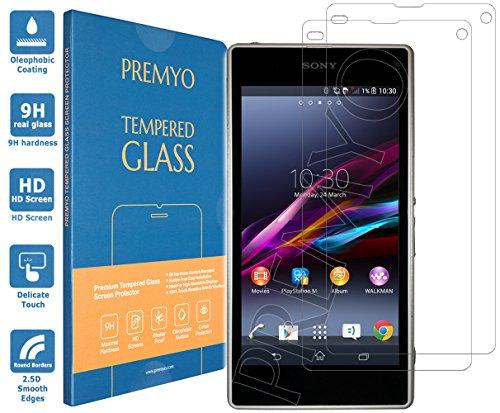 PREMYO 2 Stück Panzerglas Schutzglas Displayschutzfolie Folie kompatibel für Sony Xperia Z1 Compact Blasenfrei HD-Klar Gegen Kratzer Fingerabdrücke
