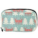 Bolsas de cosméticos TIZORAX Renos y pinos Práctico artículo de tocador Bolsa de viaje Organizador Bolsa de maquillaje para mujeres Niñas