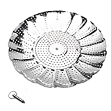 WOJIYU Verdure Steamer Basket, Regolabile in Acciaio Inox della Maniglia del Metallo Gambe Pieghevoli, Misura i Vari Pot pentola a Pressione
