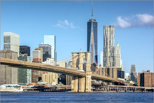 Posterlounge Leinwandbild 150 x 100 cm: New York: Brooklyn Bridge und World Trade Center von Sascha...