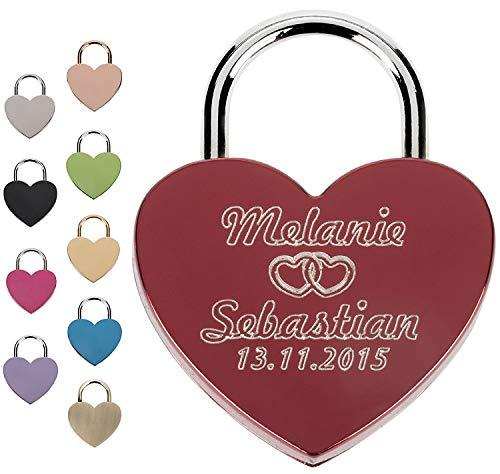 Liebesschloss Herzschloss Vorhängeschloss Graviert mit Wunschtext - Jetzt Liebesschloss selbst gestalten! (Rot)