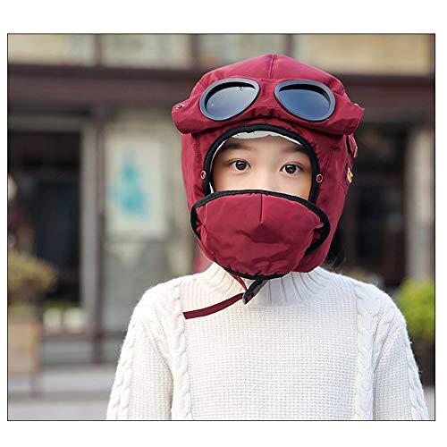 CHUHJ Unisex volwassen schaatsmuts, kinderen jongens meisjes (5-13 jaar oud) Winter hoed + Winddichte bril + masker 3 in 1 warme outdoor ski cap set voor Walking Camping Hunter Mountain Cap