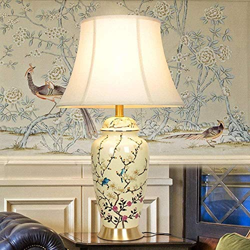 Lámpara de mesa china para mesita de noche europea y pastoral, sala de estar, villa grande pájaro decorativo lámparas de cerámica todo cobre 1 * E27 (69 x 40 cm)