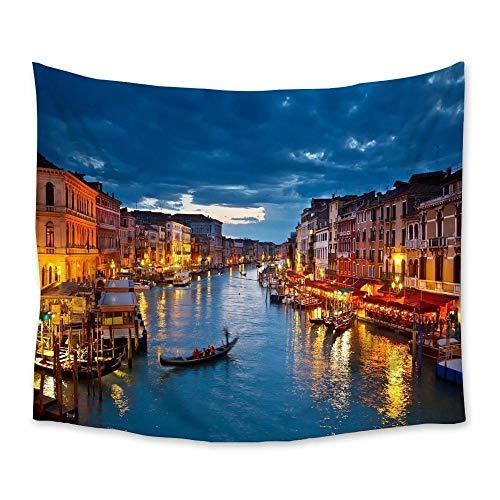 Venecia ciudad paisaje tapiz colgante de pared decoración de la pared tapices colcha hoja alfombra tiro estera de yoga hogar dormitorio decoración 150x180cm