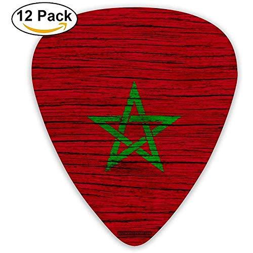 Frame van hout, Marokkaanse vlag, Marokkaanse vlag, ggen, gitaarpick, 12 stuks