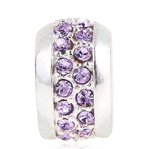 Abalorio de plata de ley 925 con diamantes de imitación, para pulsera...