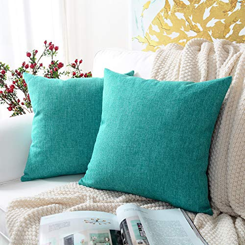 MERNETTE New Year/Christmas Decorations Cotton Linen Blend Decorative Square Throw Pillow Cover Cushion Covers Pillowcase, Home Decor for Party/Xmas 18x18 Inch/45x45 cm, Turquoise, Set of 2