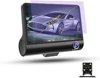 ドライブレコーダー - 車載カメラ 車内外同時録画 リアカメラ付き 4.0インチ画面 1080PフルHD 前後カメラ Gセンサー 170°広視野角 WDR